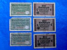Germany Third Reich 3x1 Reichsmark & 3x50 Reichspfenning, 6 Banknotes Set