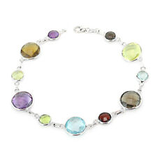 14K White Gold Bracelet With Round Shaped Multi-Colored Gemstones 8 Inches