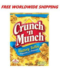 Crunch 'n Munch Buttery Toffee Popcorn with Peanuts 6 Oz WORLDWIDE SHIPPING