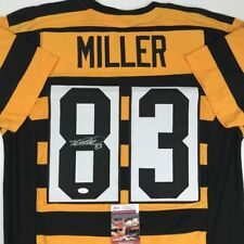 Autographed/Signed HEATH MILLER Pittsburgh Bumble Bee Football Jersey JSA COA