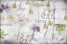 Christmas Sleigh Joy Faith Gold Accent curtain valance