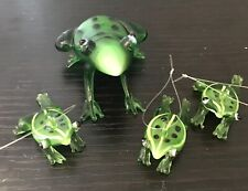 Frog Frogs Mini Green Leaf Frog Art Glass Set Of 4