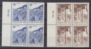 Faroe Islands 1987 Europa, Architecture in Torshavn, Plate Blocks of 4 UNM /MNH