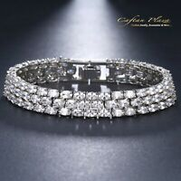 Edeles rhodiniert Luxus Zirkonia Armband Brautschmuck Bracelet AAA+ 19 cm
