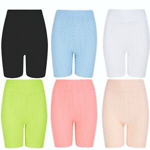 Shorts Tik Tok Ladies Womens Girls Gym Running Cycle Yoga Stretch Textured NEW