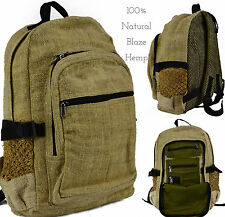 Deluxe 100% Blaze Hemp Canvas Eco Friendly RuckSack Backpack Bag Handmade Nepal