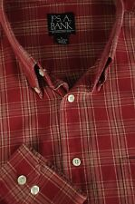 Jos A Bank Men's Red & Taupe Plaid Cotton Casual Shirt L Large
