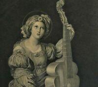 Litho von Ch.L. Schuler nach Domenichino (1581-1641): SANTA CAECILIA
