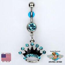 Crown Dangle Belly Button Navel Ring Bar AQUA Princess Piercing Jewelry 14G (E1)