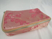 Vintage Pink Satin Zippered Jewelry/Cosmetic Bag Cherry Blossom Floral Pattern
