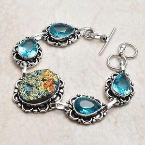 Titanium Druzy Blue Topaz Ethnic Handmade Bracelet Jewelry 23 Gms AB 98474