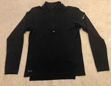 Nike Running Dri Fit Mens Poly/Wool 1/4 Zip LS Shirt Sz S Black Reflective