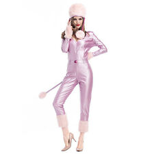 Baby pink faux leather pvc furry fetish catsuit + hat + belt size  med to large