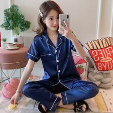Womens Silk Satin Pajamas Set Ladies Short Sleeve Sleepwear Loungewear Nightwear