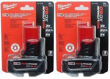 (2-PACK) Milwaukee 48-11-2460 M12 REDLITHIUM XC 6.0 Amp/Hr Lithium-ion Batteries
