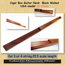 Cigar Box Guitar Fretted  Neck. Kit  for 3 or 4-strings. Black Walnut