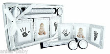 New Baby Girl Boy Present Christening Gift Keepsakes Hand Footprints Kit Silver