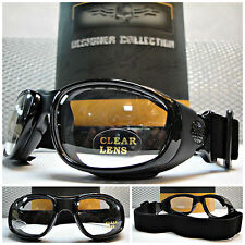 PADDED MOTORCYCLE RIDING GLASSES BIKER GOGGLES With Strap Black Frame Clear Lens