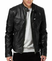 Mens Cafe Racer Retro Biker Genuine Lamb Skin Leather Jacket