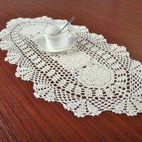 Vintage Hand Crochet Lace Cotton Beige Table Runner Wedding Party 11x27inch Oval