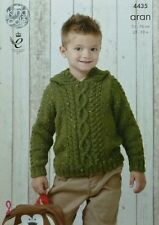 KNITTING PATTERN Childrens Long Sleeve Cable Hoodie Jumper Aran King Cole 4435