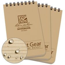 "THREE (3x) Rite-In-The-Rain 3x5"" All-Weather Top-Spiral Notebook Tan 935T"