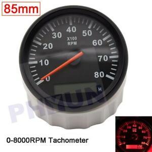 85mm 0-8000RPM Car Marine Tachometer Boat Gauge Digital Hourmeter Diesel Engine