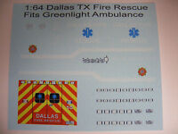 Dallas Fire Rescue Ambulance 1:64 Water Slide Decals Fits GL Red Ambulance