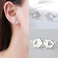 Silver Plated Earrings Cute Piggy Earrings Elegant Cartoons Girl Jewelry BDAU