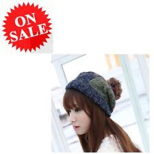 Beanie Cap For Women Orange Blue Square Pattern Winter Knitting Crochet Ball Hat