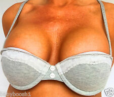 New Look Grey Padded Balconette Bra 32A Lace Trim Underwired Lingerie Everyday