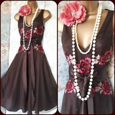 Tetro brown pink embroidered flare sequin 50s 60s party rock tea dress 8 36