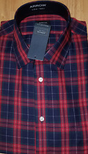 Mens NEW ARROW REGULAR FIT PLAID DRESS CASUAL SHIRT 18-18 1/2 XXL 34/35 SLEEVE