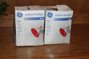 GE Outdoor Red Floodlights 85W Medium Base (2 lights) New Open Box