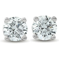 3/4Ct Round Diamond Studs Brilliant Cut Earrings 14K White Gold Enhanced