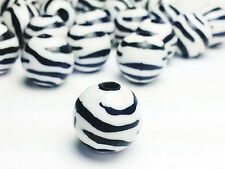 12mm Zebra Striped Beads Large Round Acrylic Black and White Animal Print USA