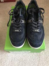New In Box Hugo Boss Logo Shoes Sneakers  Men Akeen Navy Blue 40 / 7 $245