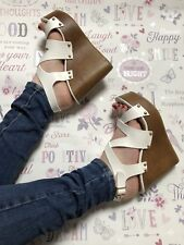 white wedges size 7 Leather Look Studded Strappy Wood Effect Sandal