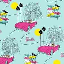 Barbie Cotton Fabric Car Hot Pink Barbie's Dream Mansion Aqua 2 Pieces