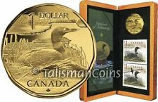Canada 2004 Elusive Loon Coin and Stamps Set w $1 Dollar Loonie Bronze Aureate