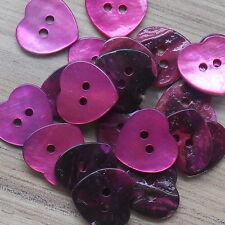 """MOTHER OF PEARL AKOYA HEART SHAPED SHELL TWO-HOLE BUTTONS X 3 (15MM/ 19/32"""")"""