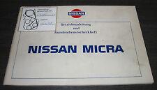 Betriebsanleitung und Kundendienst Scheckheft Nissan Micra K10 Stand 09/1985
