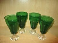 "4 Forest Green Anchor Hocking 14 oz. Ice Tea ""Boopie"" Burple Bubble Tumblers"