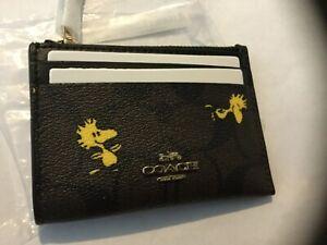 Coach X Peanuts C4594 Mini Skinny Id Case Wallet w/Signature Print Woodstock NIP