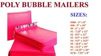 5-3000 Poly Bubble Mailers #000 #00 #0 #CD #1 #2 #3 #4 #5 #6 #7 HOT PINK BAGS