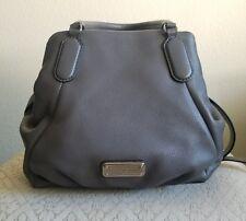 Marc by Marc Jacobs New Q Fran Leather Shoulder Tote Handbag  Grey W/ Silver HRW