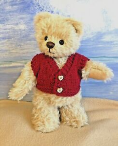 +TEDDY CLOTHES+ new hand knitted claret waistcoat to suit a 9 inch bear