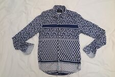 SCOTCH and SODA - Long Sleeve Printed Shirt - Blue - Small - RRP$199