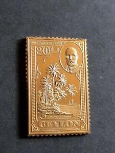 CEYLON-GEORGE V-20 CENTS-925 STERLING SILVER+GOLD PLATED STAMP INGOT-19g