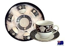 FLORENCE MEDUSA FACE COFFEE TEA CUPS & SAUCER SET OF 6 BLACK & SILVER AJ109-3